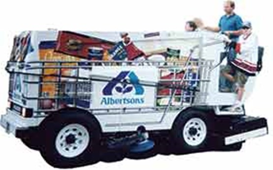 Zamboni with Albertsons logo on side